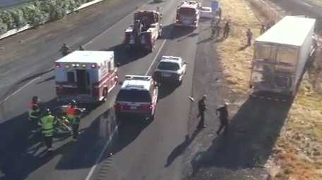 A crash involving four vehicles closed down northbound Interstate 5 on Thursday evening (June 21, 2012, photo courtesy Ted Langdell).