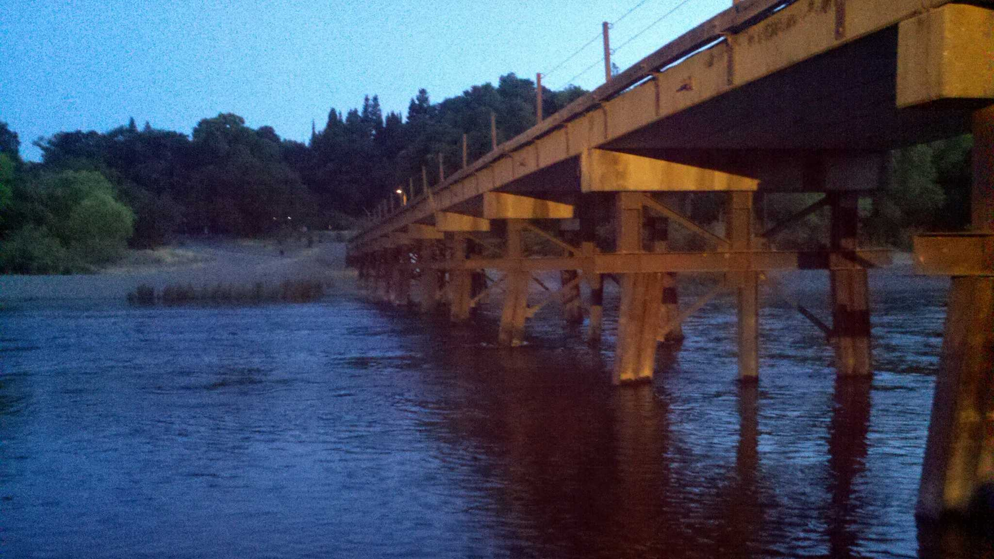 The American River at the Sunrise foot bridge (July 13, 2012).