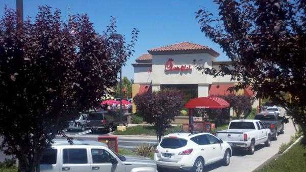 "Thousands gathered outside the Chick-fil-A restaurant in Roseville for what is called ""Chick-fil-A Appreciation Day""."