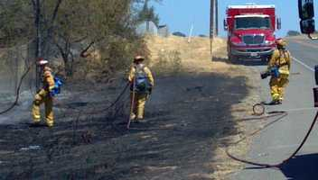 The crash sparked a fire off to the shoulder along Jackson Highway.
