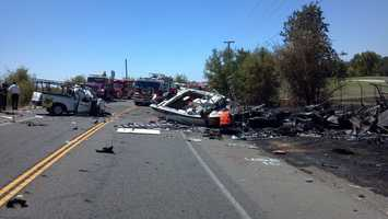 The truck went onto oncoming traffic, according to the California Highway Patrol.