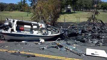 The crash involved two vehicles, including a recreation vehicle hauling a boat.