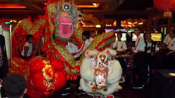 Dragon dancers at the opening of the Red Lantern in the Thunder Valley Casino Resort.