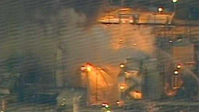 Fire burns at Richmond refinery