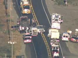 Emergency crews responded to the crash, which has at least four injured Wednesday morning, CHP said.