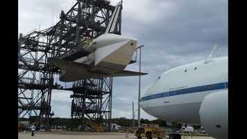 Endeavour being lifted.