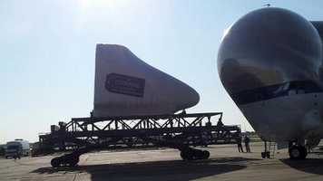 "A rare view of the command module/nose of one of the Shuttles being loaded into a ""Super Guppy"" in August."