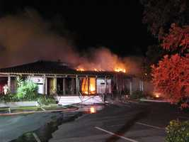 The buildings were heavily damaged by the fire and water.