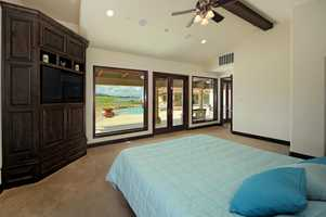 This is the master bedroom. The views included the Capay Hills and an installation of solar panels.