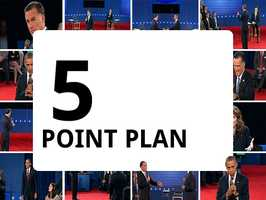 Romney has touted his five-point economic plan. In it, he mentions a need for energyindependence, trade, deficitreductionand a focus on small business.