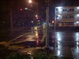 Rain falls in downtown Sacramento early Monday morning.