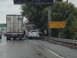 A big rig jackknifed near the northbound Interstate 5 ramp, whichcauseddelays for motorists heading into downtown.