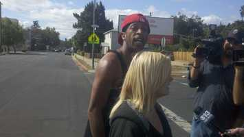 A relative of the man who was arrested is at the scene Wednesday.
