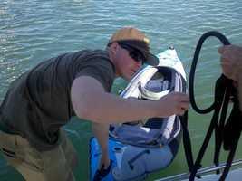 fan reels in kayak AT&T Park