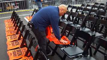 Seats are set up Wednesday for a Halloween Day parade celebrating the 2012 World Series champion Giants.