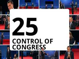 Republicans are poised to hold onto the 435-seat House. It'll take a gain of 25 seats for the Democrats to take control from the Republicans, according to the Associated Press. Sixty races are considered competitive.