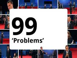 """With less than a day to go, Jay-Z, rapper and producer, preformed his hit """"99 Problems,"""" changing a key word in the lyrics that rhymes with """"witch"""" to make his own political endorsement. """"I got 99 problems but Mitt ain't one,"""" he rapped."""