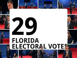 Florida, the largest battleground state, has 29 electoral votes at stake.