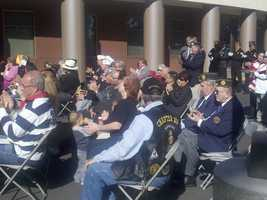 Supporters gather at Delta College to celebrate Veterans Day Parade.