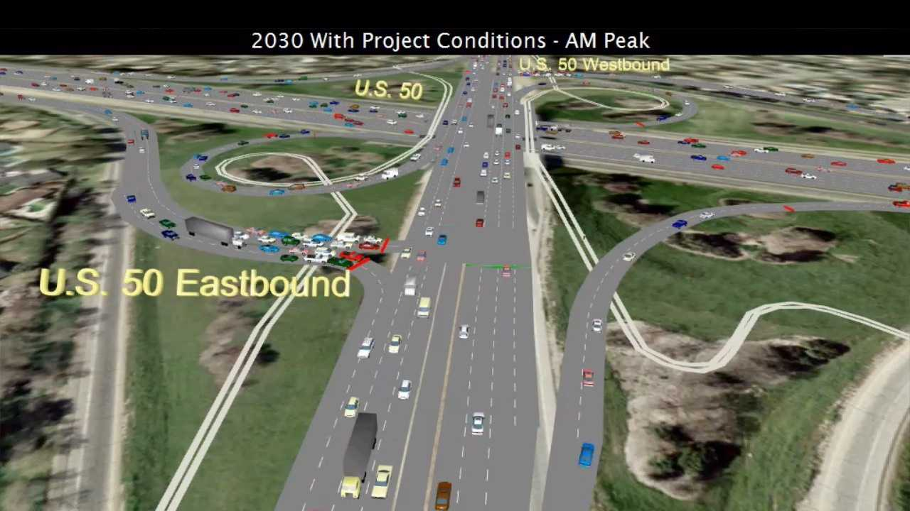 A computer rendering shows a reconfigured Watt Avenue and Highway 50 interchange with morning traffic in 2030.