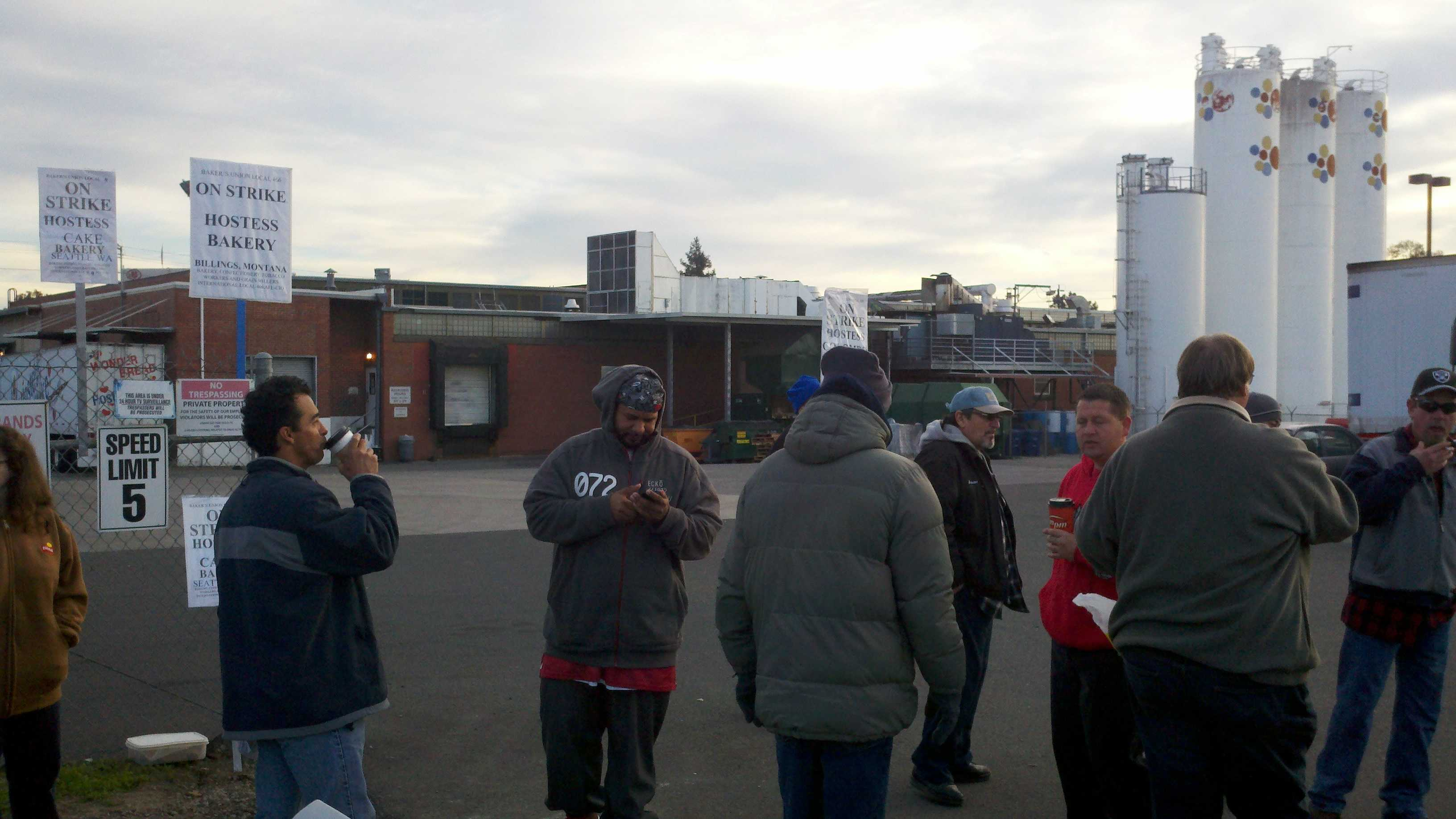 Supporters of a strike at Hostess plants nationwide walk a picket line at Sacramento's Arden Way facility.