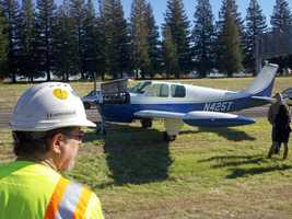 A small plane landed on Highway 65 near Blue Oaks Boulevard on Wednesday morning.
