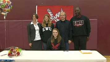 Haley Shaner is the first basketball player in West Campus history to sign a letter of intent to play at a 4-year University on a full-ride scholarship.  Shaner will play foward for Eastern Washington.