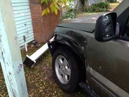 A car bumped into a home after crashing near 26th and P streets in Sacramento on Wednesday.