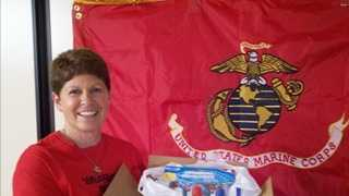Lynn Soto, mother of a Marine serving in Afghanistan, collects supplies to create Christmas care packages to send to troops.