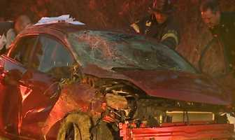 Four people were injured Monday when a vehicle traveling southbound on Northgate Boulevard rolled over.