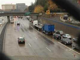 WednesdayA big rig that wasinvolvedin a crash is seen near the overpass.