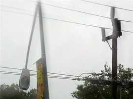WednesdayA street light was mangled during a car crash in Rancho Cordova.