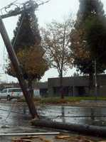 WednesdayA power pole is smashed in Rancho Cordova.
