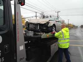 A car and a Twin River School District bus crashed Wednesday with one student on board the bus. No injuries were reported in the crash, the California Highway Patrol said.