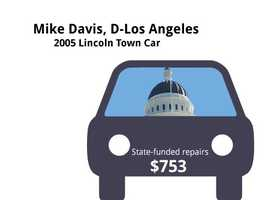 "Mike Davis, D-Los Angeles2005 Lincoln Town CarState's purchase price: $31,188State's sale price: $31,188$753 for ""gold maintenance"" and ""the works"" maintenance"