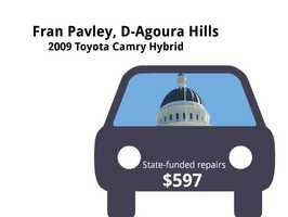 Fran Pavley, D-Agoura Hills2009 Toyota Camry HybridState's purchase price: $31,785State's sale price: $15,000$597 for a vehicle inspection, and to replace filters, oil, rotate tires