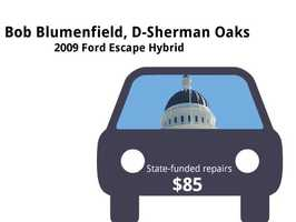 Bob Blumenfield, D-Sherman Oaks2009 Ford Escape HybridState's purchase price: $35,685State's sale price: $14,000$85 for oil and filter changes