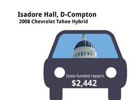 Isadore Hall, D-Compton2008 Chevrolet Tahoe HybridState's purchase price: $48,500State's sale price: $19,000$2,442 for four new tires, to change power steering and transmission fluid, flush cooling and fuel-injection systems