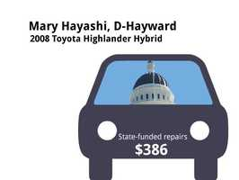 Mary Hayashi, D-Hayward2008 Toyota Highlander HybridState's purchase price: $46,007State's sale price: $21,025$386 for flat repair, alignment
