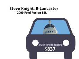 Steve Knight, R-Lancaster2009 Ford Fusion SELState's purchase price: $25,542State's sale price: $8,000$837 for four new tires&#x3B; battery replaced