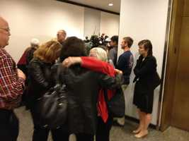 Andrea Rosenstein, Sabrina Gonsalves' sister, hugs another family member after the verdict was read Thursday.