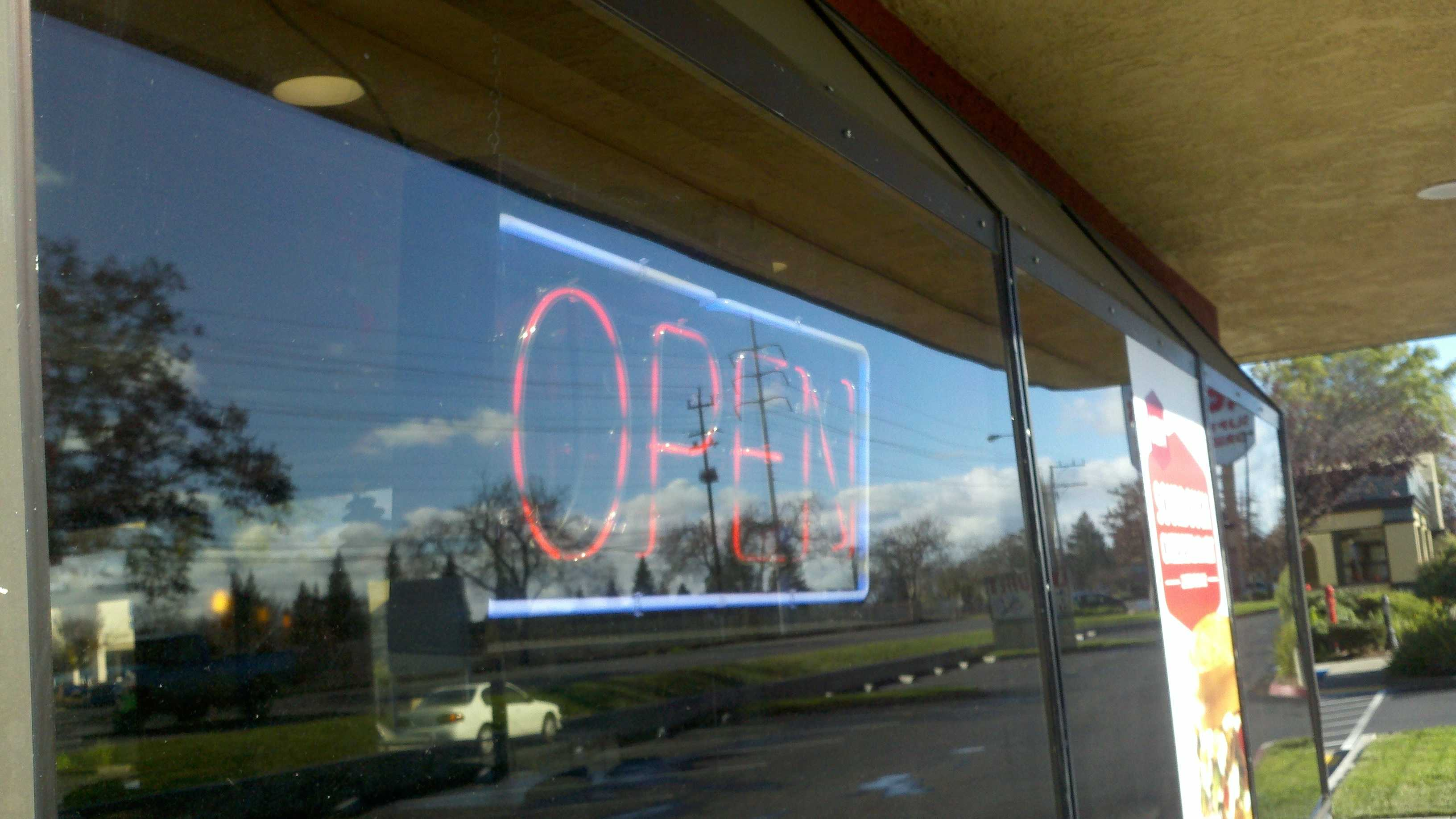The open sign is once again lit at the the Jack in the Box on Folsom Boulevard.