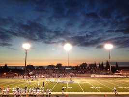 Sunset at the Granite Bay vs. Rocklin football game.