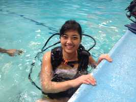 SCUBA lessons take place in the 92-degree pool.