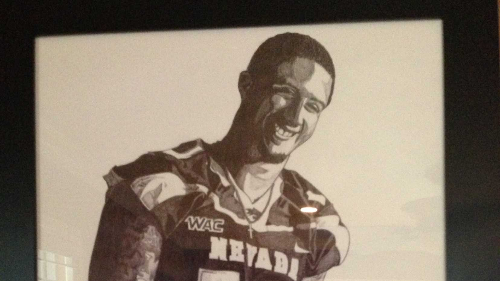 Colin's Uncle Rand Kaepernick did this drawing with a bic pen.