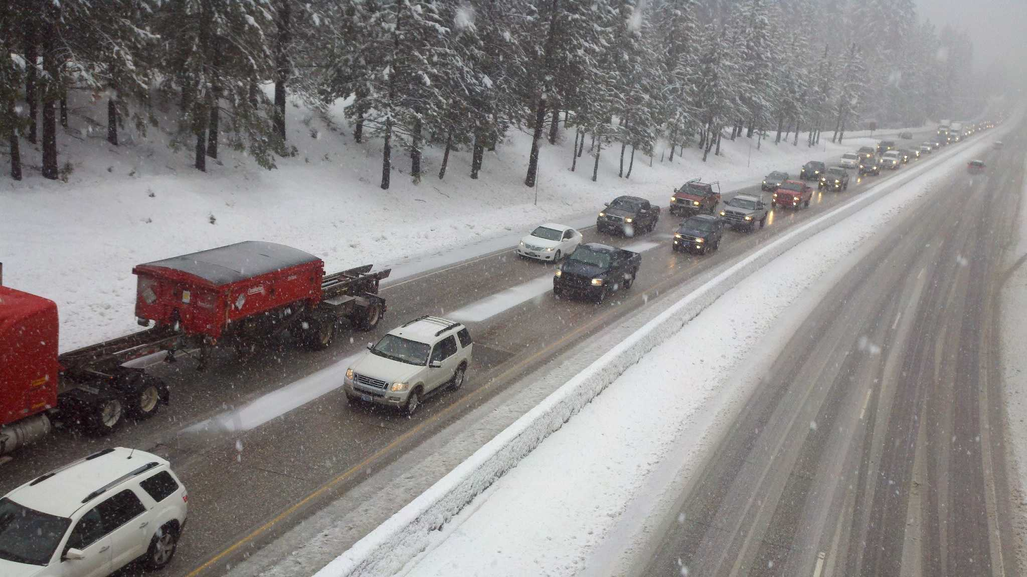 Traffic slows down on Interstate 80 in Baxter.