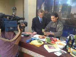 Richard Sharp spends some time in the outdoor kitchen on the KCRA patio.