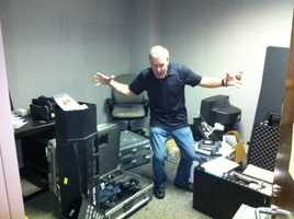 KCRA Chief Photographer Mike Rhinehart tackles the tough task of organizing gear to bring to London.