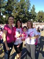 Edie Lambert and Kellie DeMarco get ready for the Susan G. Komen Race for the Cure.