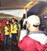Lisa Gonzales and Edie Lambert collect turkey donations during the annual KCRA Turkey Drive for Thanksgiving.